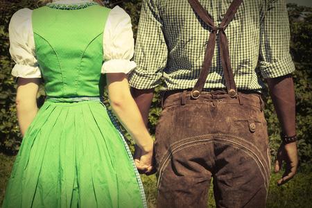Interracial couple at Oktoberfest Stock Photo