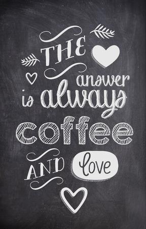 ブラック ボードにチョークで書かれたコーヒーの名言