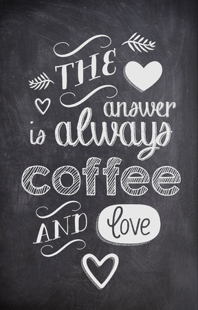 Coffee Quote written with chalk on a black board