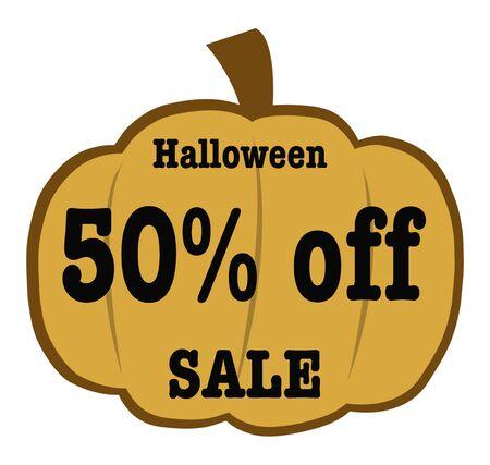 50 off: Halloween 50 Off sale Banner Stock Photo
