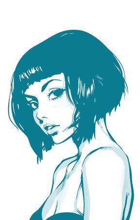 cabeza femenina: Chica Gráfico