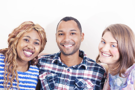black woman white man: Cheerful Friends Hugging