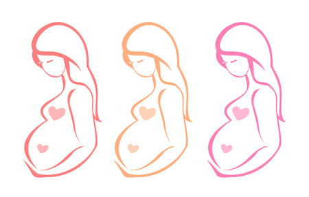 abdomen women: Silhouette of pregnant woman