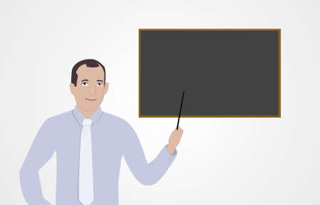 blank board: Businessman and blank board Stock Photo