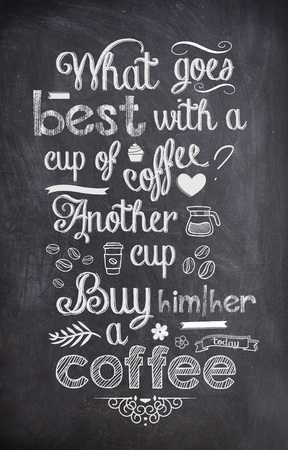 good: Coffee Quote written with chalk on a black board