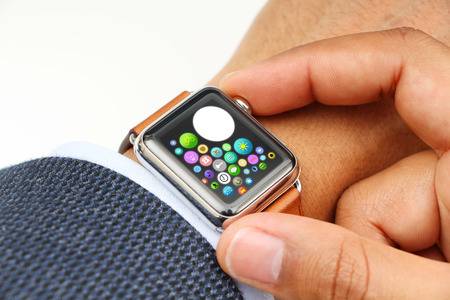 mans watch: Business mans hand with a smart watch and space Stock Photo