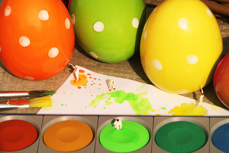 miniatures: Easter eggs and miniatures background