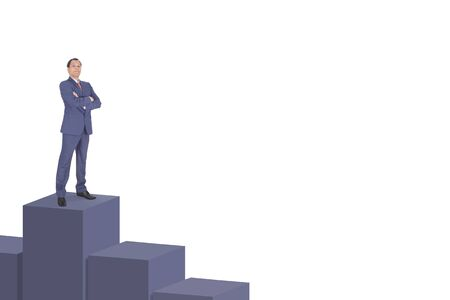 suited up: Businessman standing on top of cubes Stock Photo