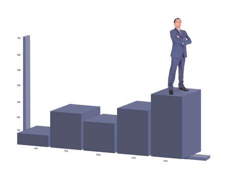 suited up: Businessman standing on highest bar of a chart Stock Photo