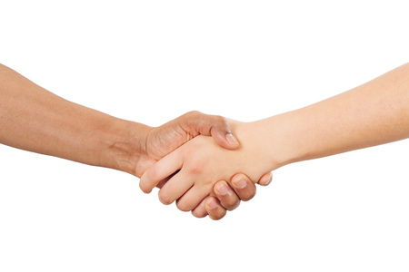 african american handshake: Interracial handshake Stock Photo