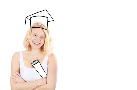 proud: Girl being proud of her degree