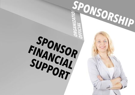 sponsorship: Confident Businesswoman and business words - sponsorship