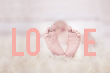 Baby Feet on for forming the word love