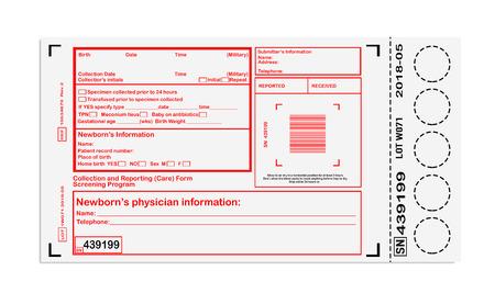 screening: Blank card for newborn screening Stock Photo