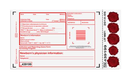 rennet: Blank card for newborn screening Stock Photo