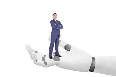 Businessman on robot hand - enabling success