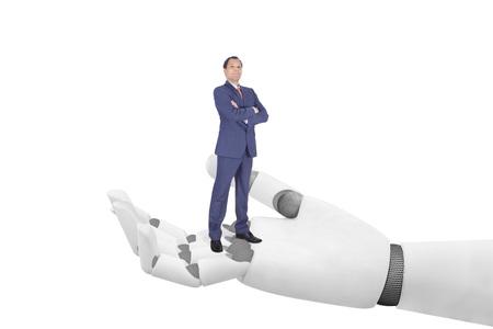 Geschäftsmann auf Roboter Hand - Ermöglichung Erfolg Standard-Bild - 84258628