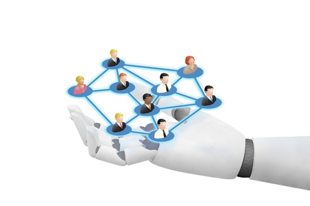Roboter Joying Social-Networking-Technologien Medien Standard-Bild - 84258642