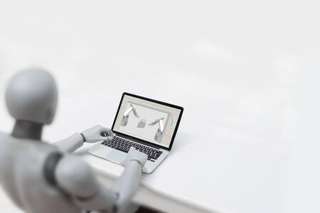Robot working in industry - Replacing humans concept