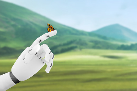 Robot hand with a butterfly on it's finger