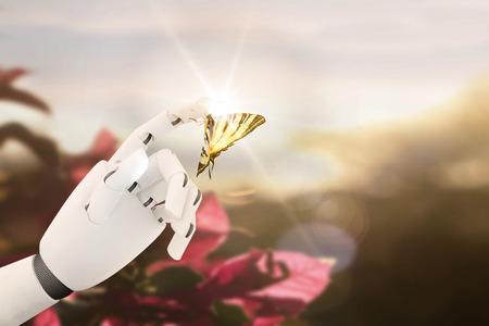 Roboter Hand mit einem Schmetterling auf den Finger Standard-Bild - 82931155