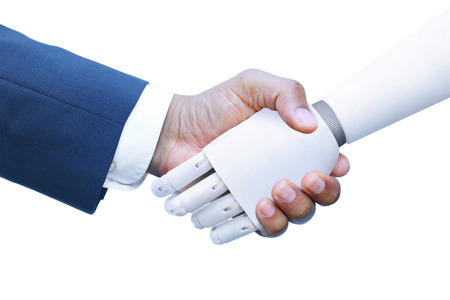 Robot and Human shaking hands 스톡 콘텐츠
