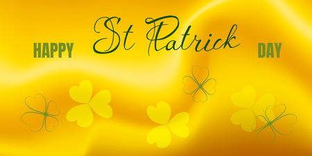 Vector illustration of Happy Saint Patricks Day. Hand drawn typography badge with shamrock.