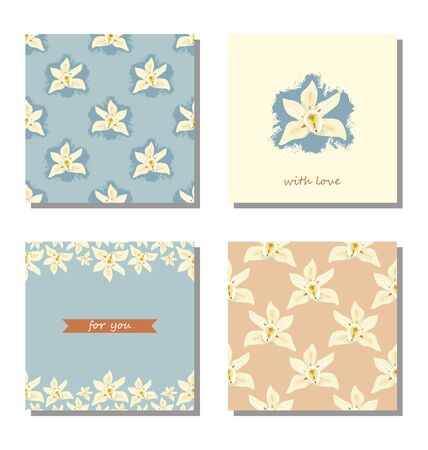 Set greeting cards in pastel colors with the text for you, with love. Vector illustration.