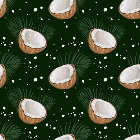 Seamless pattern with coconuts and palm leaves. Half a coconut. Summer and paradise background. Wallpaper, print, wrapping paper, modern textile design, banner, poster. Vector illustration. Иллюстрация