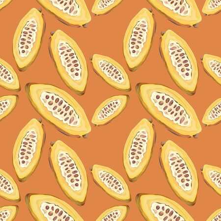 Seamless pattern with cocoa. Cocoa beans. Wallpaper, print, wrapping paper, modern textile design, banner, poster. Vector illustration.