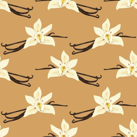 Seamless pattern with vanilla pods. Sweet vanilla. Wallpaper, print, wrapping paper, modern textile design. Vector illustration. Ilustrace