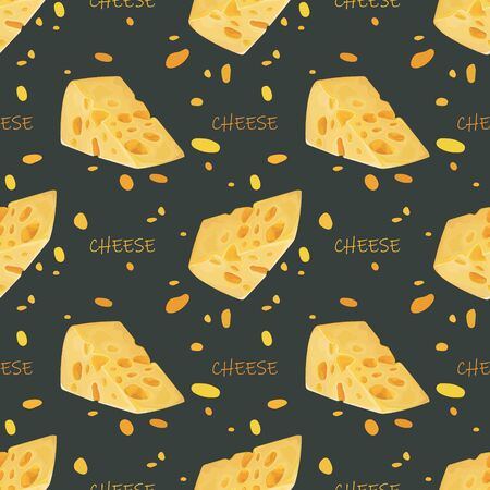 Seamless pattern with a piece of cheese with holes. Yellow cheese. Wallpaper, print, packaging, paper, textile design. Vector illustration.
