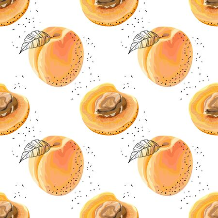 Seamless pattern with apricots on a white background. Orange apricots with leaves and bones. Summer background. Wallpaper, print, wrapping paper, modern textile design. Vector illustration.