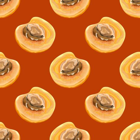 Seamless pattern with apricots. Half a ripe apricot. Fruit background. Vector illustration.