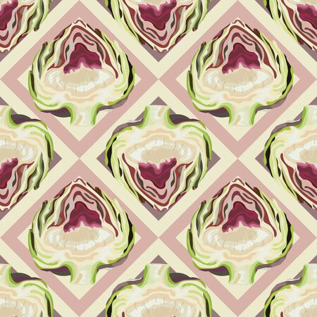 Seamless pattern with artichokes. Purple artichoke. Vegetable background. Wallpaper, print, wrapping paper, modern textile design, poster. Vector illustration.