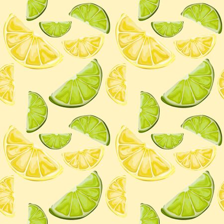 Seamless pattern with lemon and lime slices. Yellow and green citruses. Wallpaper, print, packaging, paper, textile design. Vector illustration.