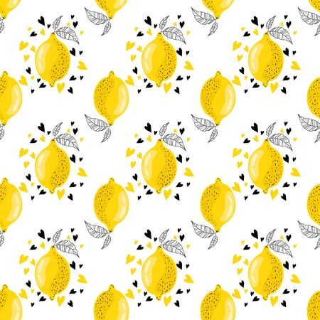 Lemon fruit with hearts on a white background. Yellow citruses with leaves. Banner, poster, print, wrapping paper, modern textile design. Vector illustration.