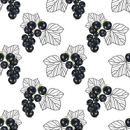 Seamless pattern with black currant with stylized leaves. Ripe and juicy black currant. Wallpaper, print, wrapping paper, modern textile design. Vector illustration.