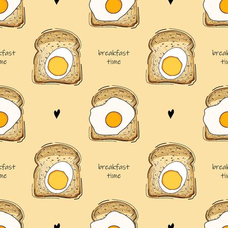 Seamless pattern with fried eggs and bread. Breakfast time. Good morning. Wallpaper, print, wrapping paper, textile design. Vector illustration.