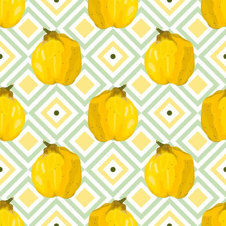 Seamless pattern with quince. Stylized yellow quince on a geometric background. Wallpaper, print, wrapping paper, promotional material, banner, poster, modern textile design. Vector illustration.