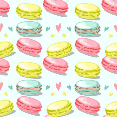 Seamless pattern with macaroons on mint background. Colorful macaroons with hearts. Poster, banner, wrapping paper, print, modern textile design. Vector illustration.