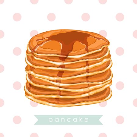 Card, banner, poster, sticker, print with pancakes and honey. Delicious pancakes. Idea for breakfast. Vector illustration. Ilustração
