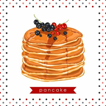 Card, banner, poster, sticker, print with pancakes, honey and berries. Delicious pancakes. Idea for breakfast. Vector illustration.