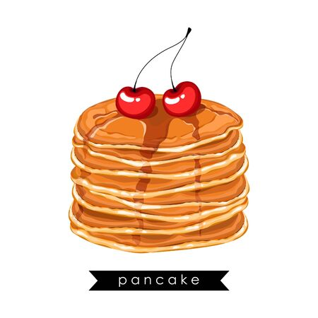 Card, banner, poster, sticker, print with pancakes, honey and cherries. Delicious pancakes. Idea for breakfast. Vector illustration.