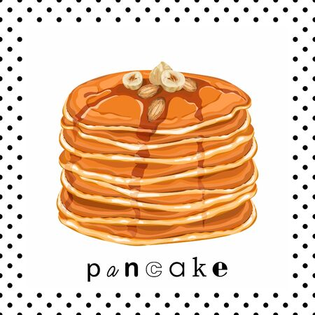 Card, banner, poster, sticker, print with pancakes, honey, almonds and hazelnuts. Delicious pancakes. Idea for breakfast. Vector illustration.