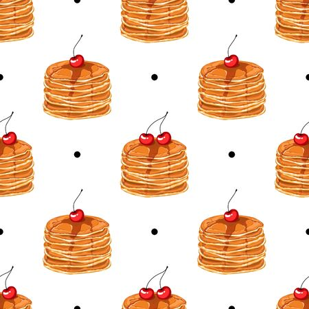 Seamless pattern with pancakes, honey and cherries. Delicious pancakes for breakfast. Wallpaper, print, packaging, paper, textile design. Vector illustration.