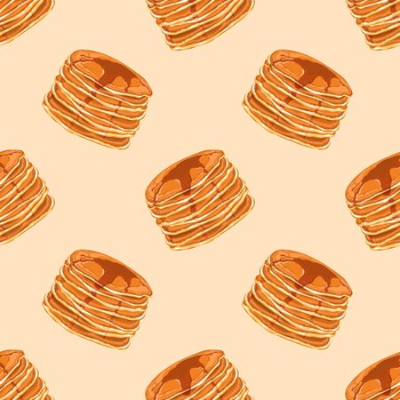 Seamless pattern with pancakes and honey. Delicious pancakes for breakfast. Wallpaper, print, packaging, paper, textile design. Vector illustration.