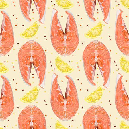 Seamless pattern of salmon steak. Trendy healthy food. Red fish. Wallpaper, print, packaging, paper, textile design, design of kitchen interior, seafood restaurant menu. Vector illustration.