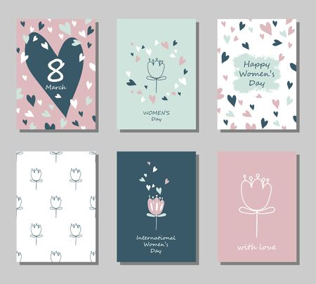 Set of greeting cards on March 8 in pastel colors. International Women's Day. Vector illustration.