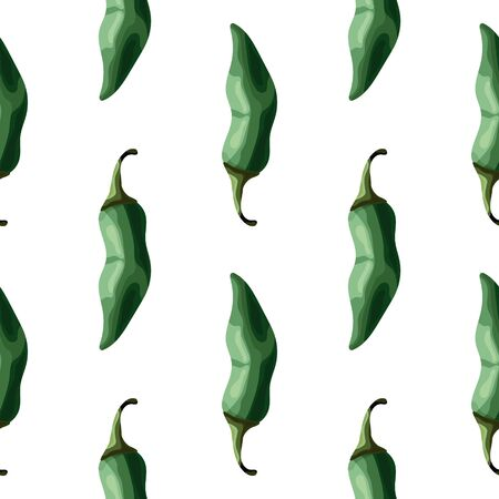 Seamless pattern with green peppers on a white background. Hot peppers. Wallpaper, print, packaging, paper, textile design. Vector illustration. Ilustração Vetorial
